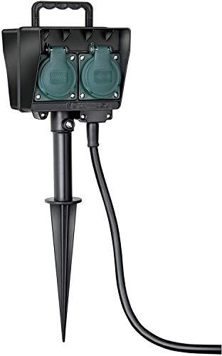 Brennenstuhl Garten-Steckdose / Außensteckdose 4-fach mit Erdspieß (witterungsbeständiger Kunststoff, Steckdose für außen mit wasserfestem Gehäuse, 1,4m Kabel) schwarz