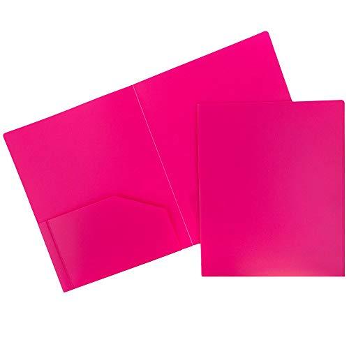 JAM PAPER Heavy Duty Plastic 2 Pocket School Folders - Fuchsia Hot Pink - 6/Pack