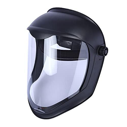 F Fityle Escudo Facial Casco de Soldadura con Lente Transparente de Pantalla de Policarbonato Sin Recubrimiento Anti-UV Protección de Ojos Cara Completa - Máscara única diadema 🔥
