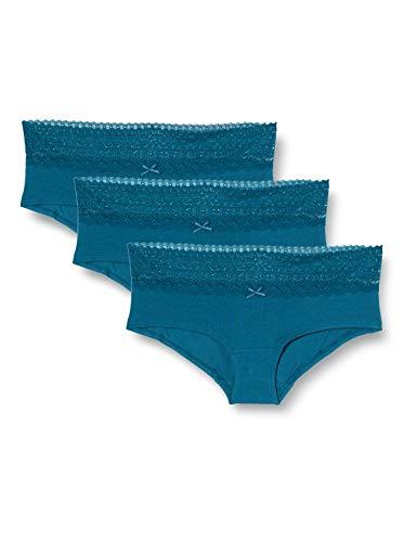 Marca Amazon - IRIS & LILLY Braga Boy Short de Algodón Mujer, Pack de 3, Azul (Legion Blue), L, Label: L