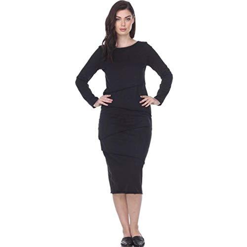 Neon Buddha Women Casual Cotton Long Sleeve Layered Dress Ladies Slim Dress Black Size XS