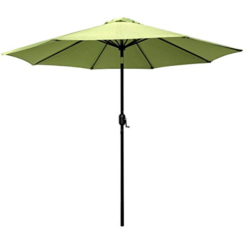 ABBLE Outdoor Patio Umbrella 9 Ft Stripe with Crank and Tilt, Weather Resistant, UV Protective Umbrella, Durable, 8 Sturdy Steel Ribs, Market Outdoor Table Umbrella - Lime Green