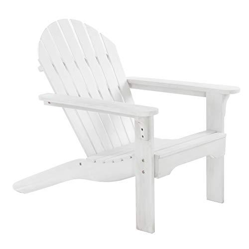 Raburg Gartensessel Adria Premium - Akazie Hartholz, WEIß - lackierter XXL Design-Gartenstuhl Canadian Adirondack Deck-Chair/Hamburger Alsterstuhl