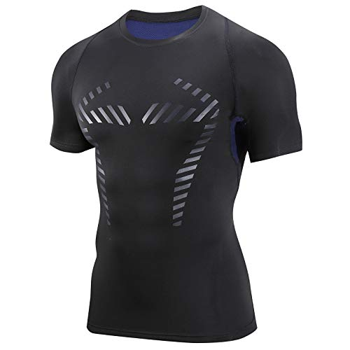 AMZSPORT Herren Kompressionsshirt Kurzarm Funktionsshirt Atmungsaktives Sportshirt Laufshirt,Blau XL