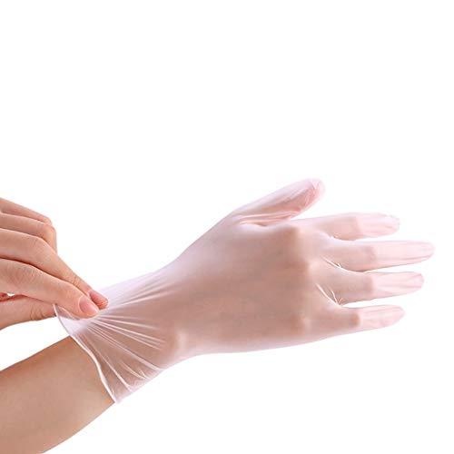 Btruely Transparente Einweghandschuhe aus PVC, transparente Folie, elastische Handschuhe für Backen, Schönheit, Geschirrspülen, Salon-Haarfarbe, 50 Stück