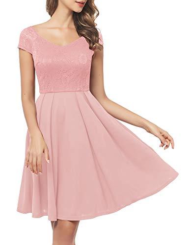 Bbonlinedress 50er Jahre Kleider weihnachtskleider Kleid Hochzeit gast Kleider für hochzeitsgäste Spitzenkleid Damen Rockabilly Kleider Rosa Pink Damen Kleid Damen Damen Petticoat Kleid Blush XL