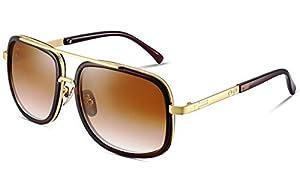 8b4670f68 $27 Eyerno Retro Aviator Sunglasses For Men Women Vintage Square Designer  Sun Glasses(Brown)
