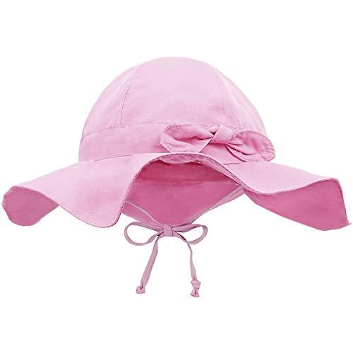 Zegeey Baby MäDchen Kleinkind Sonnenschutz Sonnenhut Sommer Candy Solid Atmungsaktiv Caps HüTe MüTze Beach Outdoor Hut(Rosa)