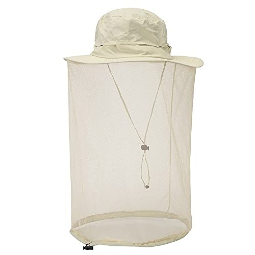 Outdoor 360 Mosquito-Proof Hat Fishing Umbrella Hat Protection with Mosquit Net for Men Women Hiking Camping Caps Breathable (Cream, Medium)