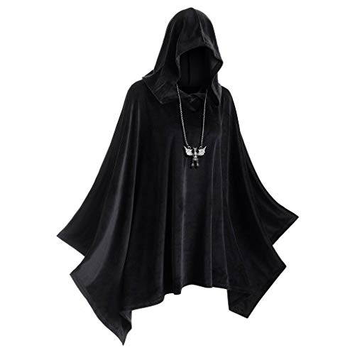 Eternali Unisex Halloween Erwachsener Samt Hoodie Umhang Vampire Devil Hexe Cosplay Kostüm mit Kapuze Cape Herren Damen Doppelseitig Festliche Party Hooded Mantel Maske Prom Dress Up Outwear