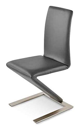 SAM Freischwinger Bern, Kunstlederbezug grau, Standfuß U-Form aus Edelstahl, pflegeleichter Esszimmerstuhl
