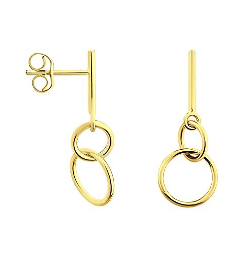 DIAMALA Pendientes para mujer de oro 375 (9 quilates), oro amarillo con diseño de círculo - DI20016