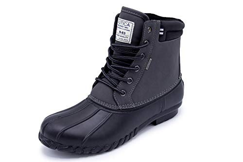 Nautica Mens Channing Waterproof Snow, Insulated Duck Boot-Big and Tall-Wide Width -Charcoal/Black-14