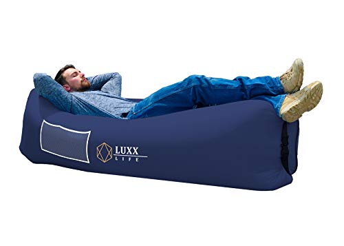 LUXX LIFE - Inflatable Lounger Camping Sofa Air Hammock - Camping, Hiking, Traveling, Park, Beach, Pool, Lakeside, Picnic, Festivals - Durable & Waterproof - Indoor/Outdoor Use, Pack of 1, Navy