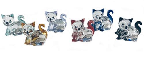 WWW.Vienna-Fashion.at - 6 gatti in vetro di cristallo di diversi colori, altezza 3 cm, di WWW.Vienna-Fashion.at - Vienna Austria - vetrina decorativa (558)