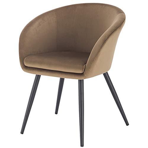 EUGAD 0319BY-1 1 Stück Esszimmerstühle Küchenstuhl Wohnzimmerstuhl Polsterstuhl mit Armlehne, Retro Design, Samt, Metall, Braun
