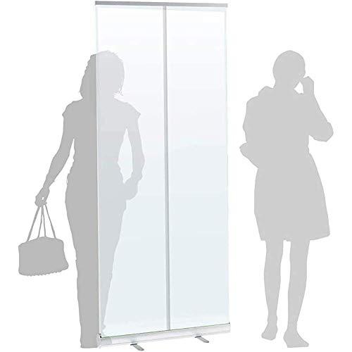 YUMUO Transparente Vollplane, aufrollbares Banner-Schutzschild, bodenstehend, Niesschutz, Schutzschirm, Isolationsbarriere, tragbarer Raumteiler, Basis aus Aluminiumlegierung.