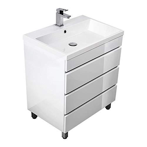 Lomadox Badezimmer Standwaschtisch mit Unterschrank in Hochglanz weiß 70cm Waschbecken