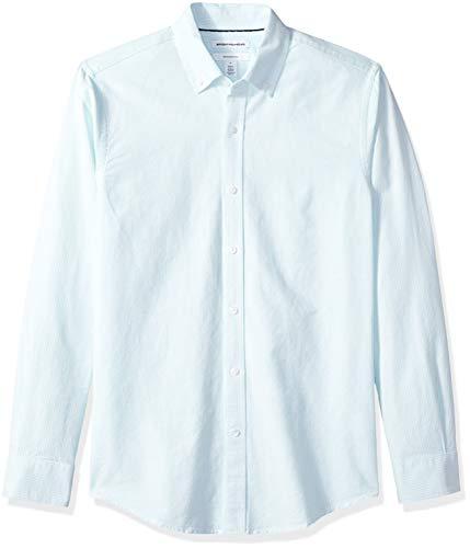 Amazon Essentials – Camisa Oxford de manga larga de corte entallado de rayas para hombre, Azul (Aqua Stripe Aqu), US L (EU L)