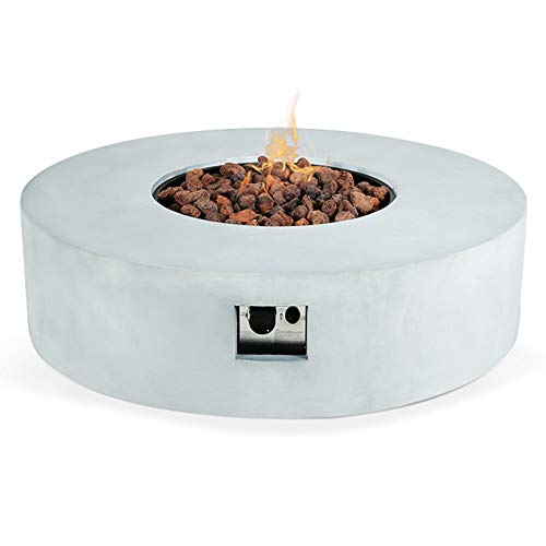 N A Outdoor Fire Pit Propane Garden Fire Bowl Pit, 42-inch Round ConcreteFirePit Table for Patio Backyard 50,000 BTU Stainless Steel Burner,Free Lava Rocks (Gray)