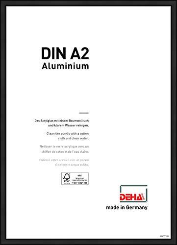 DEHA Design Cadre en Aluminium Boston, 42x59,4 (A2) cm, LR. Noir Mat
