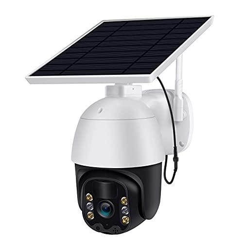 AAFLY Cámara de seguridad solar al aire libre, WiFi inalámbrico recargable con batería solar PTZ, cámara de vigilancia de la casa con detección de movimiento/visión nocturna de color
