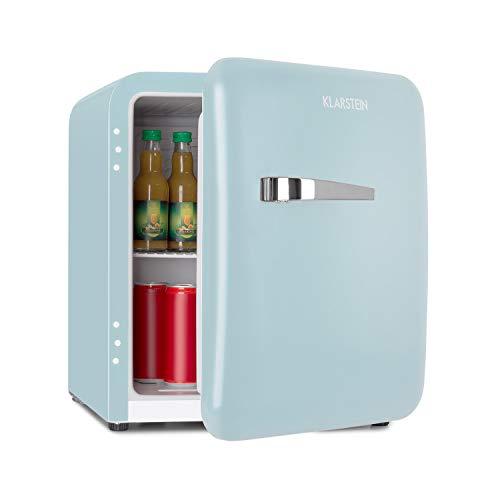 Klarstein Audrey Mini retro koelkast met 48 liter inhoud - mini koelkast, zuinig dankzij energie-efficiëntieklasse A +, 2 niveaus, temperatuur instelbaar: 0-10 ° C, flessenvak, blauw