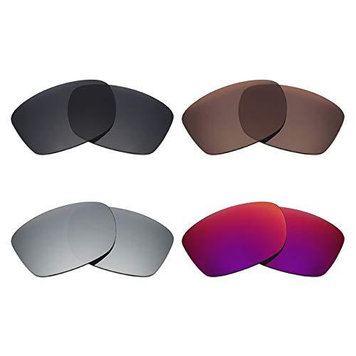 Mryok polarisierte Ersatzgläser für Oakley Jupiter Squared Sonnenbrille – Stealth Black/Bronze Brown/Silver Titanium / Midnight Sun