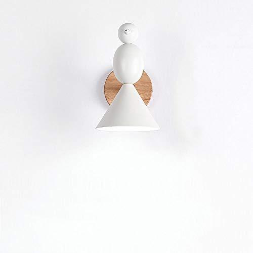 Yingying Wandlamp, LED-achtergrond, smeedijzer, wandlampen, lamphouder voor vogels, in stevige hoek, kop van licht hout, verstelbaar, voor slaapkamer, Art Deco G9, L