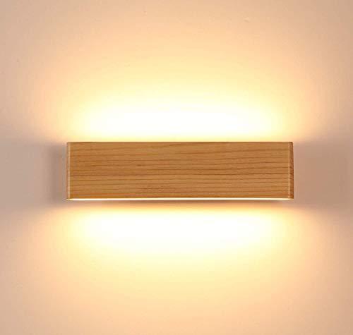 LED Wandleuchte holz,Moderne Wandlampe Holz Flurlampe Nachtlampe, Schlafzimmer Treppenhaus Flur Wandbeleuchtung Innenbeleuchtung (Size : 22cm)
