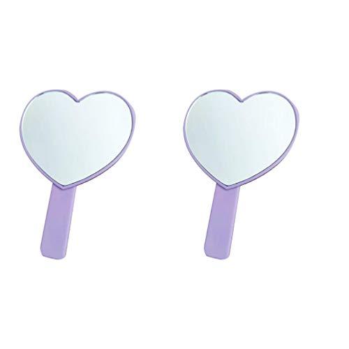 Minkissy 2pcs coeur forme miroir poignée cosmétique miroir voyage miroir de maquillage pour filles femmes (violet)