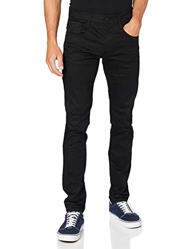 REPLAY Anbass Jeans, 98 Negro, 28W x 30L para Hombre