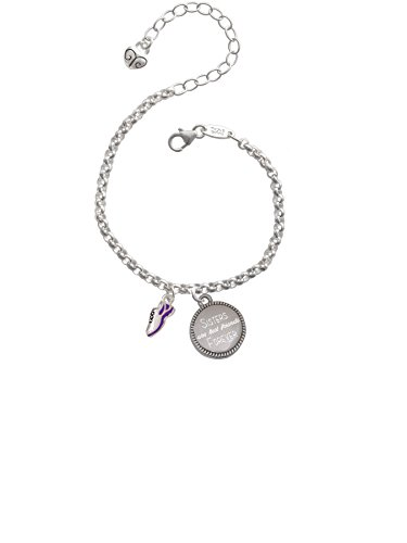 Cheer Bunny Mini Purple Running Shoe Sisters are Best Friends Forever Engraved Bracelet