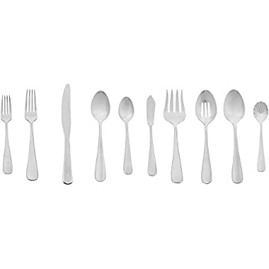 AmazonBasics 45-Piece Stainless Steel Flatware Set with Round Edge, Service for 8