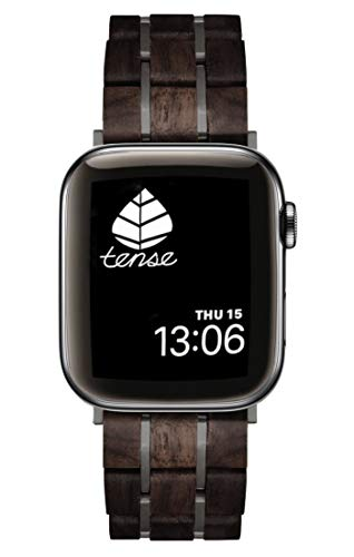 TENSE // Holz Armband für Apple Watch 42/44 Serie 1-5 Leadwood/Dark APBLB-42