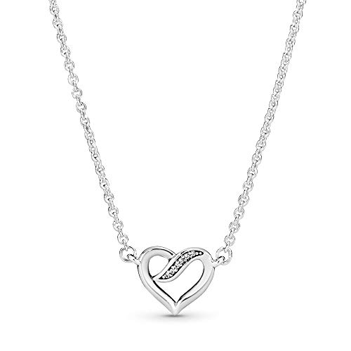 Pandora Jewelry Ribbon Open Heart Necklace Cubic Zirconia Necklace in Sterling Silver, 17.7'