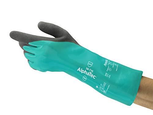 Ansell AlphaTec 58-735 Gants de Travail Nitrile Resistant Coupure et Produit Chimique pour Bricolage, Industrie, Mécanique, Vert, Taille 11 (12 Paires)