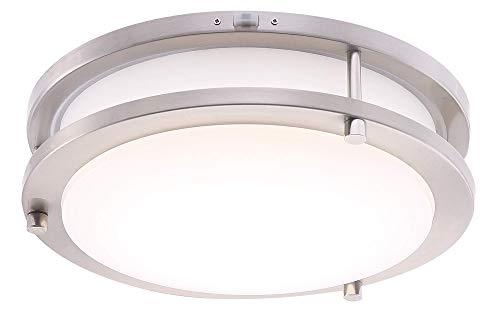 Cloudy Bay LED Flush Mount Ceiling Light,10 inch,120V 17W Dimmable 1050lm,3000K/4000K/5000K Adjustable,CRI 90+, Brushed Nickel Lighting Fixture for Kitchen,Hallway,Bathroom,Stairwell