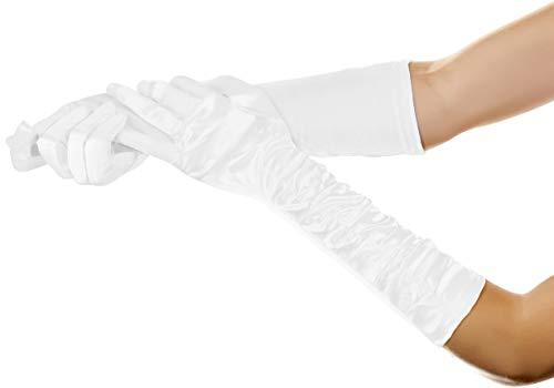 Balinco Lange Glamour Handschuhe in den Farben schwarz, weiß & rot zum 20er Jahre Damen Charleston Kostüm (Weiß)