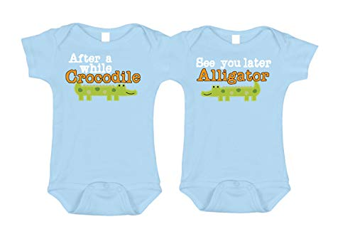 Bebe Bottle Sling- Twin- See You Later Alligator/After While Crocodile (Includes 2 Blue Bodysuits), Size 6-12 mo