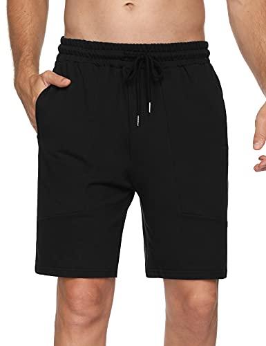 Hawiton Pantalones Cortos de Deporte para Hombre Pantalones Deportivos Verano de Algodón Pantalón Chándal Hombre Corto Fitness Jogging, Negro, S