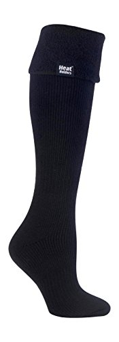 HEAT HOLDERS - Las mujeres termo calcetines Botas de agua Tamaño 4-8 púrpura (Wellington calcetín) (negro)