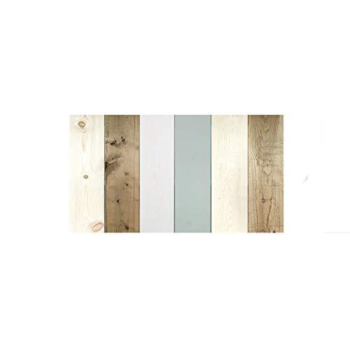Decowood - Cabecero Vintage para Cama de Dormitorio, Madera de Pino, Combinado Multicolor Verde Azulado - 120 x 60 cm