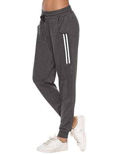 Sykooria Damen Jogginghose Sporthose Lang Yoga Hosen Freizeithose Laufhosen Baumwolle High Waist Trainingshose für Frauen mit Streifen-Streifen B-dunkelgrau-M
