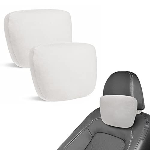 BMZX Car Headrest Pillow 2 Pack Soft Breathable Ergonomic Memory Foam Cushion Adjustable Strap Neck Support Car Seat Headrest Fit Tesla, Car SUV Truck/Van