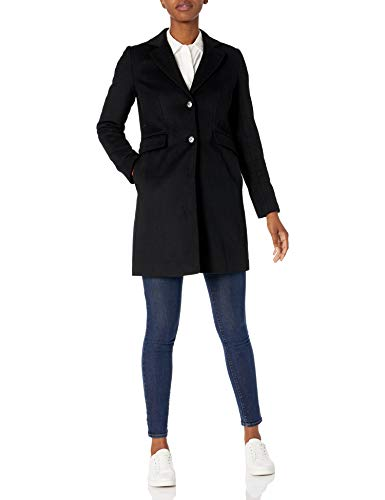 Calvin Klein Damen Womens Button Front Single Breasted Wool Coat Caban-Jacke, Schwarz, 32