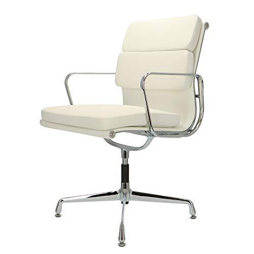 POP Designer Bürostuhl - Chefsessel, Schreibtischstuhl aus Kalbsleder   Drehbar  Weiß   EA208