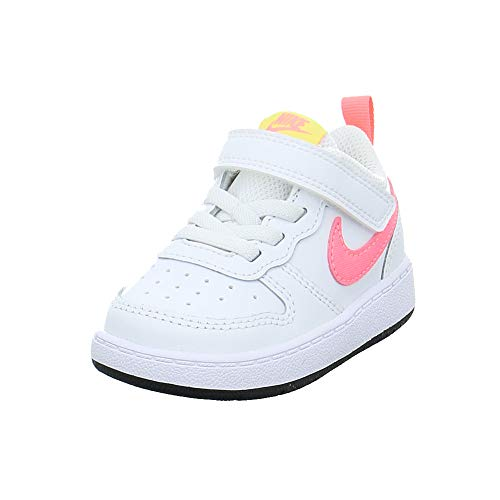 Nike Jungen Unisex Kinder Court Borough Low 2 Sneaker, White/Sunset Pulse-Light Zitron-Black, 25 EU