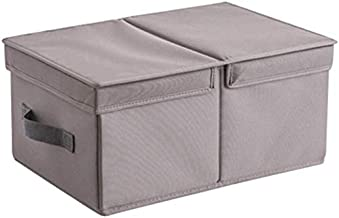 Laundry Basket Cotton Fabric Foldable Storage Bins Baskets with Lids and Handles Container Clothes Blanket. (Color : Gray,...