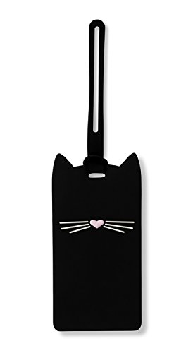Kate Spade New York Silicone Luggage Tag with Durable Strap, Black Cat
